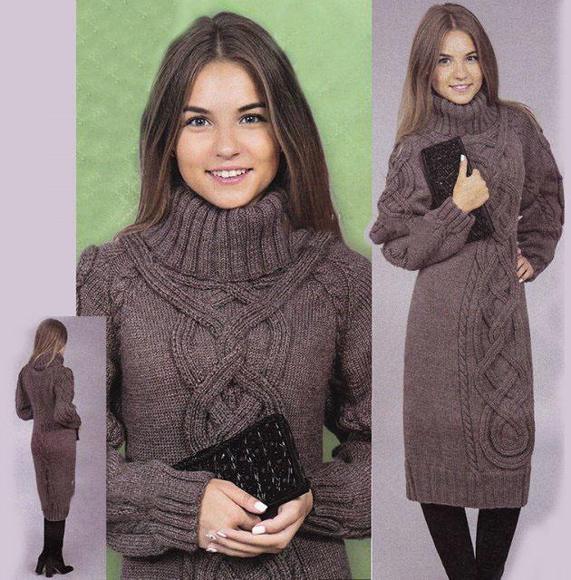 Теплое платье спицами: схема вязания