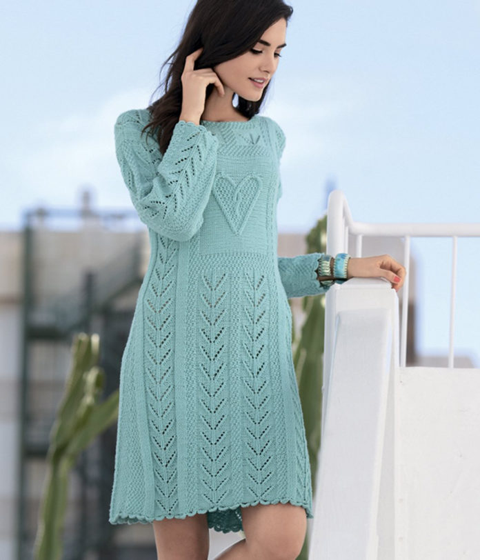 Ажурное платье спицами с узором в виде сердца схема вязания с подробным описанием для женщин