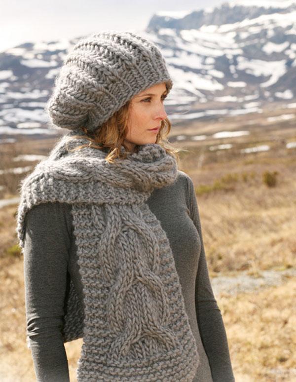 Шапка и шарф спицами от студии Drops Design