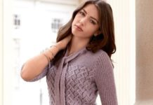 Ажурный пуловер спицами с узким шарфиком схема вязания спицами