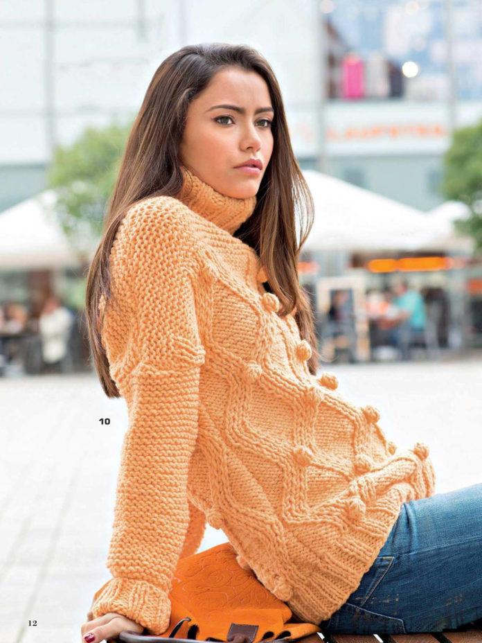 Пуловер спицами с узором из шишечек и ромбов схема вязания спицами