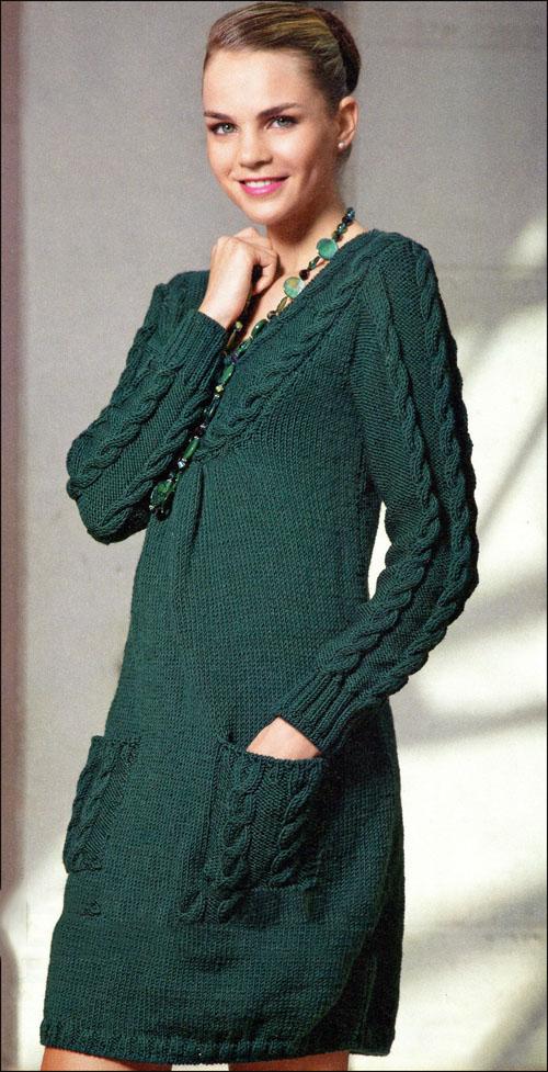 Зеленое платье с карманами: схема вязания спицами