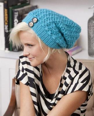 Голубая шапка чулок крючком схема вязания с подробным описанием