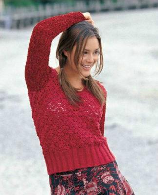 Короткий пуловер спицами и крючком с узором паутинка схема вязания с подробным описанием