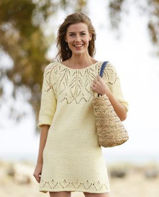 Платье спицами с круглой ажурной кокеткой схема вязания с подробным описанием