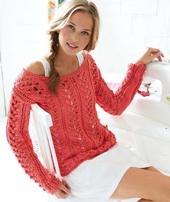Ажурный летний пуловер спицами цвета Камилия схема вязания