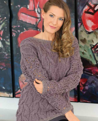 Пуловер спицами с ажурными рукавами крючком схема вязания с подробным описанием