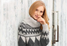 Кашемировый пуловер спицами с жаккардовым рисунком