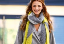 Длинный шарф спицами из пряжи трех цветов схема вязания с подробным описанием