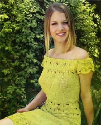 Ажурное платье спицами цвета Киви схема вязания спицами с подробным описанием