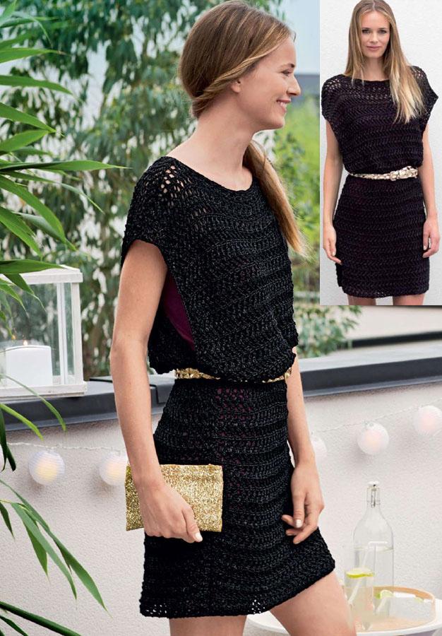 Летнее платье-туника ажурным узором: схема вязания спицами