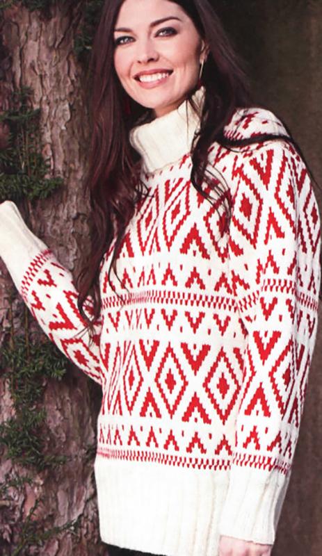 Удлиненный свитер спицами в жаккардовой технике схема вязания с подробным описанием для женщин