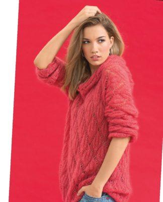 Мохеровый пуловер с ромбами алого цвета схема вязания спицами с подробным описанием