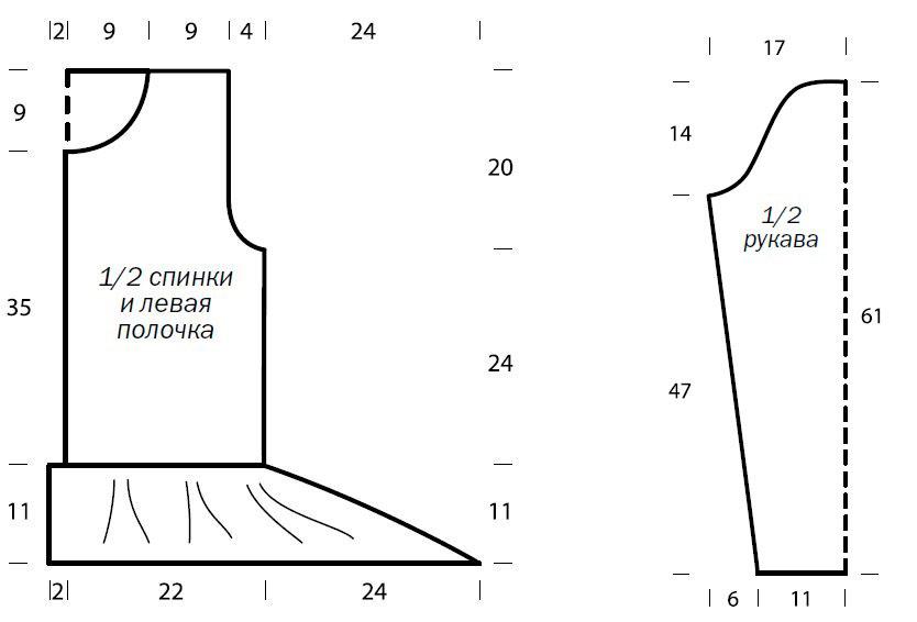 Теплая кофта с баской спицами рельефным узором выкройка