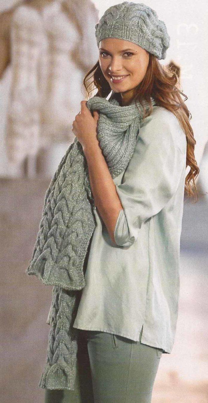 Шапочка и шарф спицами с крупным узором из кос