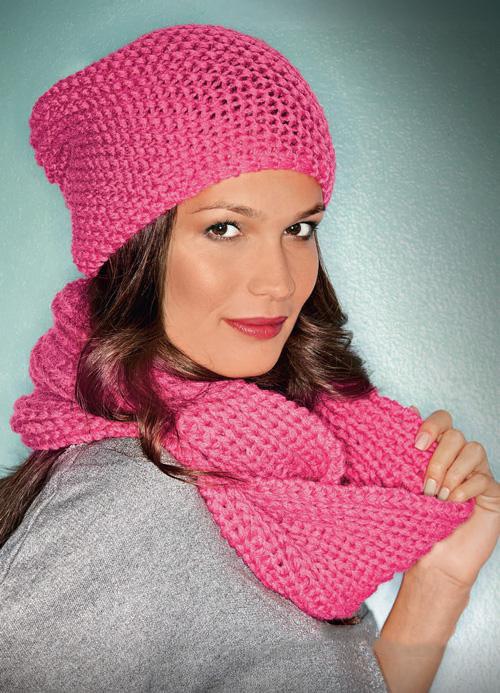 Вязаный комплект шапочка и шарф спицами