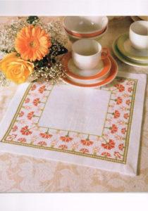 Схема вышивки крестом Цветы для салфетки