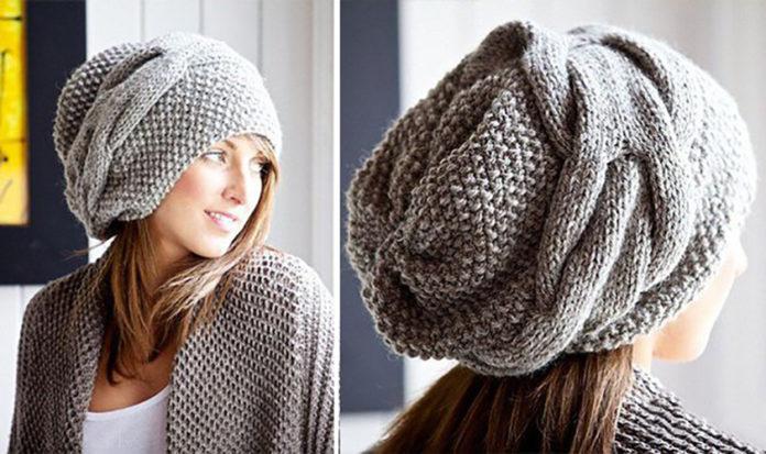 Стильная шапка спицами в стиле Бохо