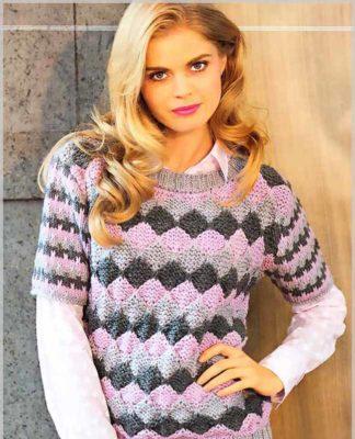 Пуловер спицами с узором из цветных ромбов и коротким рукавом схема вязания спицами с подробным описанием