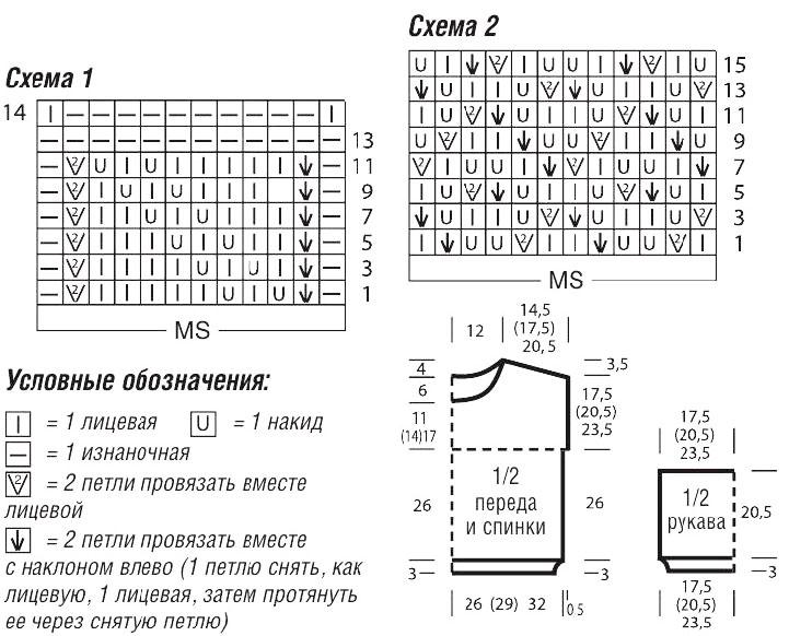 Укороченный джемпер спицами с ажурным узором Схема вязания спицами, выкройка и условные обозначения