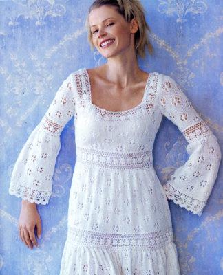 Ажурное платье спицами с расклешенным рукавом схема вязания сп подробным описанием