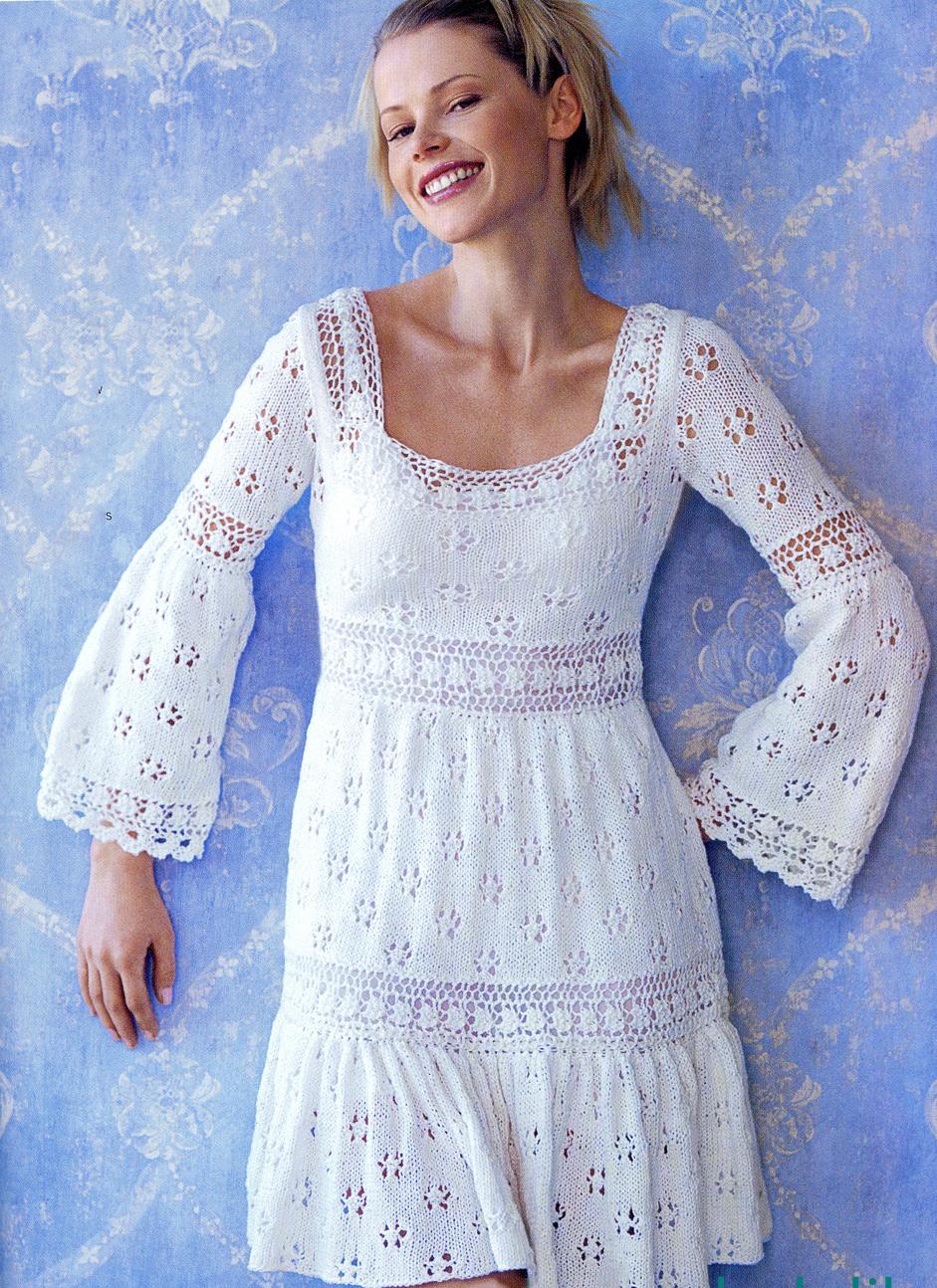 схема вязания женских платьев спицами