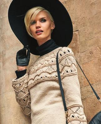 Пуловер спицами с ажурным узором на рукавах и кокетке схема вязания спицами с подробным описанием