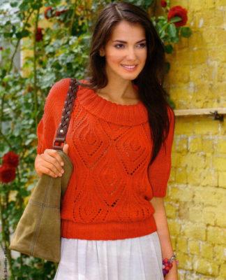 Весенний пуловер спицами с круглым воротником схема вязания спицами с подробным описанием для женщин