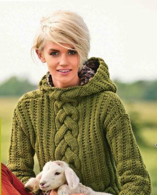 Зеленый пуловер спицами с капюшоном схема вязания спицами с подробным описанием дляженщин