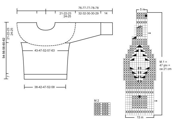Пуловер спицами с кокеткой с узором из листьев и шишечек выкройка и схема вязания пуловера