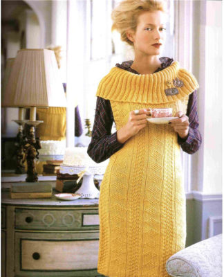 Желтая туника спицами с объемным воротником схема вязания с подробным описанием для женщин