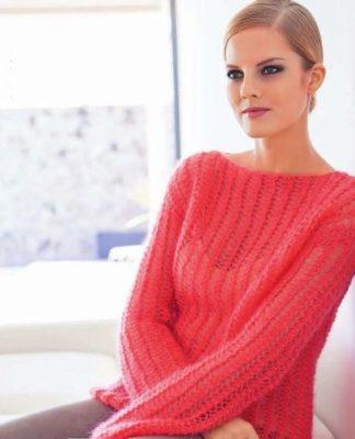 Воздушный пуловер спицами сетчатым узором схема вязания спицами с подробным описанием