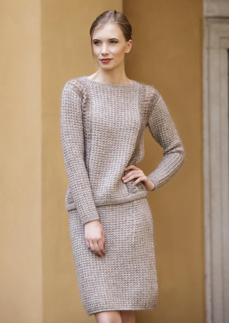 Вязаный комплект: пуловер и юбка спицами схема вязания с подробным описанием для женщин спицами