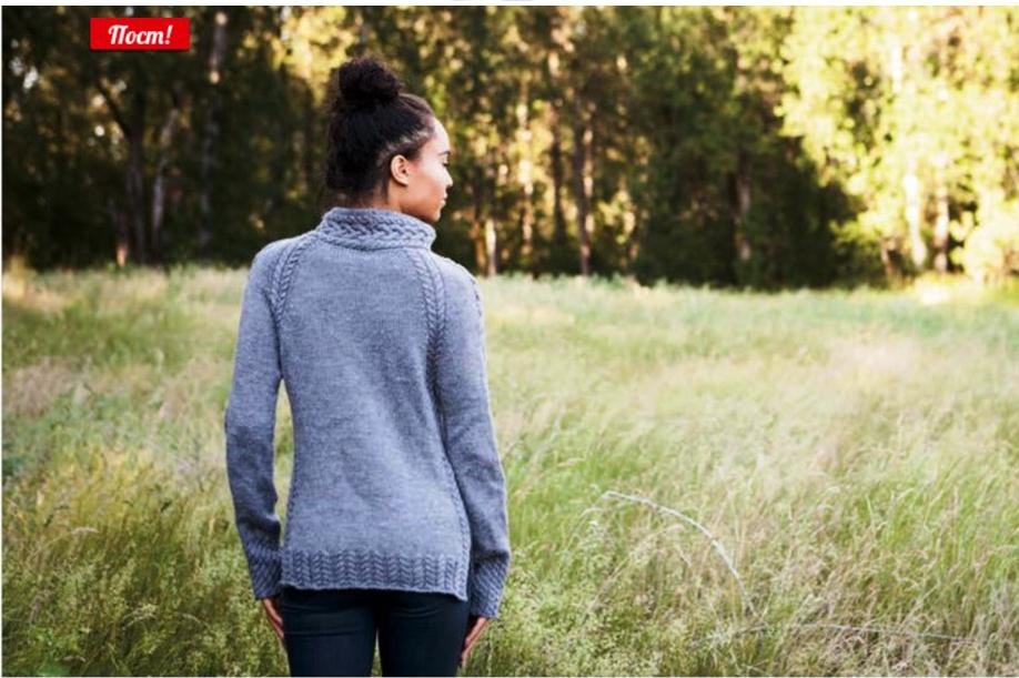 Спортивный пуловер спицами из кос и жгутов вид со спины