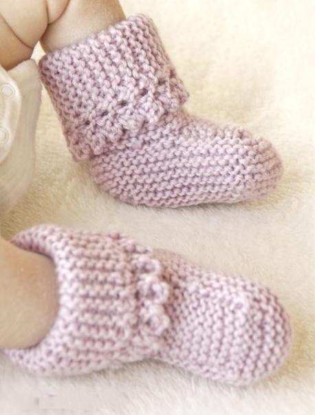 Нежные пинетки спицами для новорожденных с ажурным краем схема вязания для новорожденных