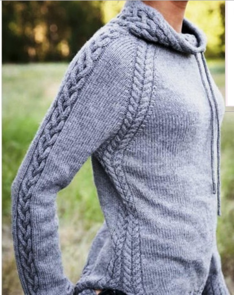 Спортивный пуловер спицами из кос и жгутов схема вязания с подробным описанием для женщин