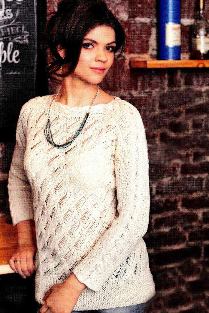 Пуловер спицами с ажурным узором и узором коса схема вязания спицами с подробным описанием для женщин