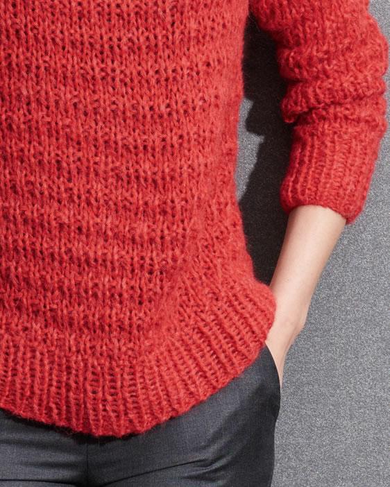 Красный свитер спицами с объемным воротником схема вязания спицами с подробным описанием