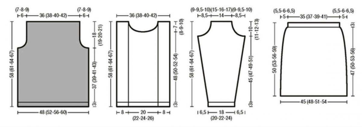 Вязаный комплект: пуловер и юбка спицами выкройка