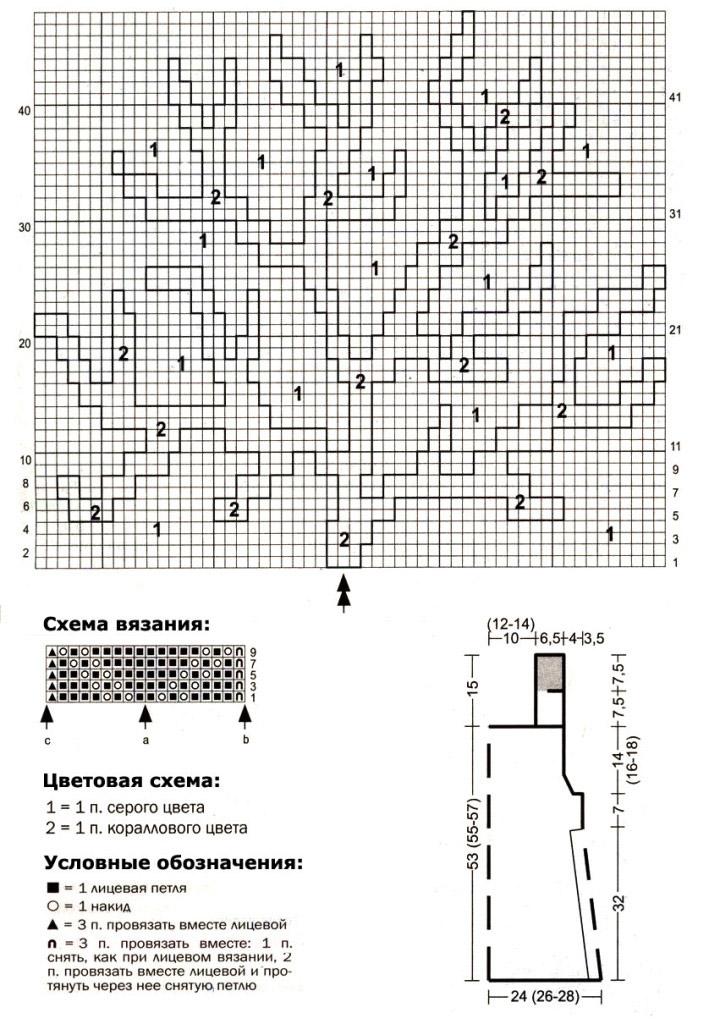 Летний топ спицами с жаккардовым узором Коралл схема вязания с подробным описанием