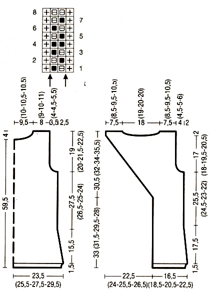 Летний топ спицами с открытой спинкой схема вязания спицами и выкройка