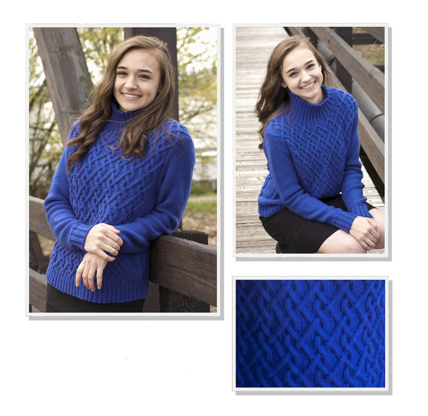 Синий свитер с косами спицами для девушки схема вязания спицами с подробным описанием