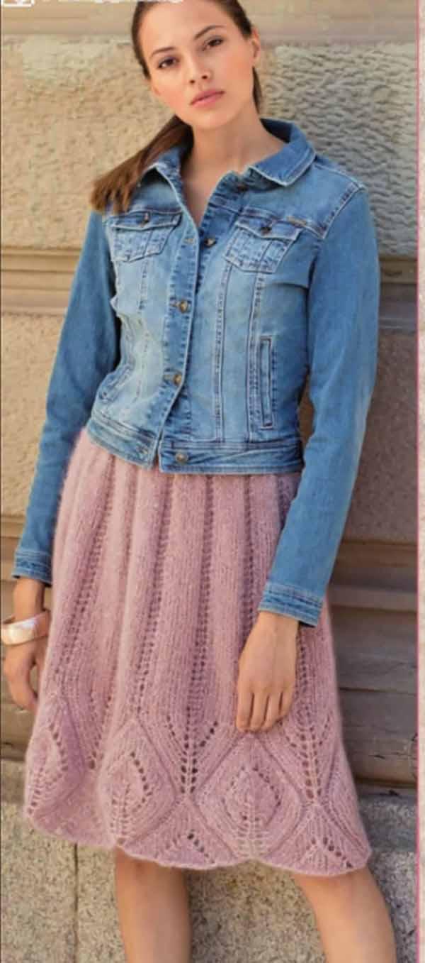 Пышная юбка спицами в складку с ажурным узором схема вязания с подробным описанием