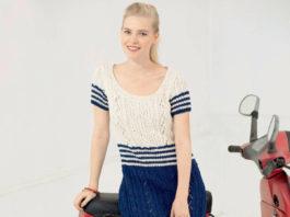 Полосатое платье спицами морской тематики схема вязания с подробным описанием