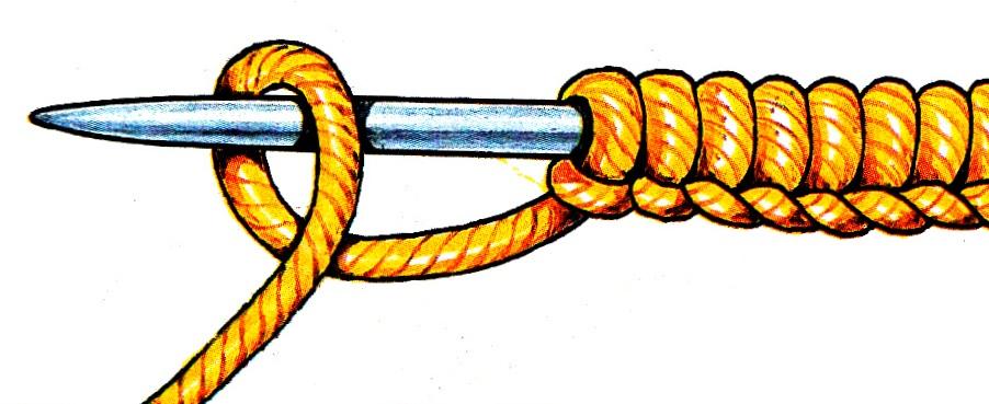 Набор петель начального ряда из одной нити вязание спицами для начинающих