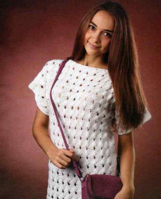 Белая туника спицами с дырчатым узором схема вязания спицами с подробным описанием для женщин бесплатно