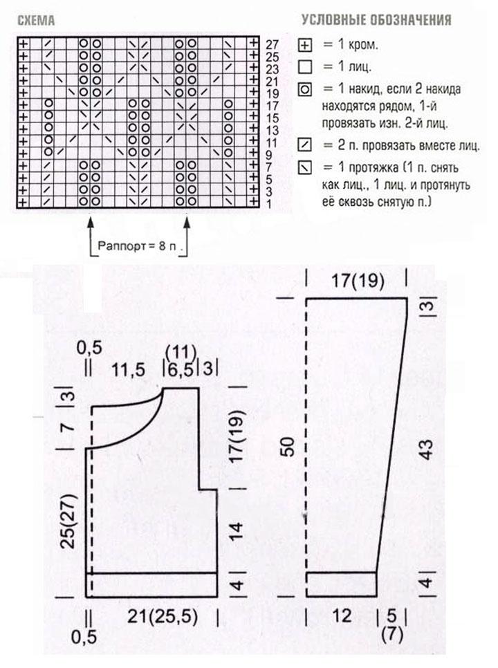 Укороченная кофточка спицами с ажурным узором схема вязания и выкройка