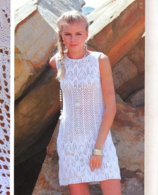 Летнее платье спицами с ажурным узором схема вязания с подробным описанием для женщин спицами