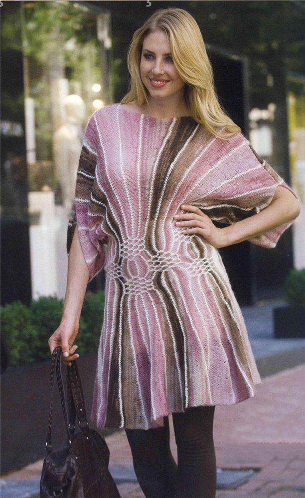 Платье спицами с эффектом клиньев схема вязания с подробным описанием для женщин спицами