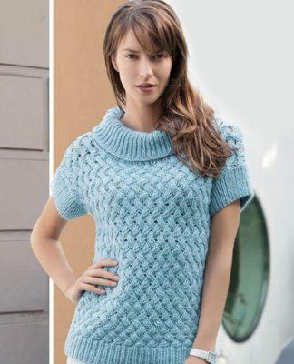Плетеный пуловер спицами с коротким рукавом схема вязания спицами с подробным описанием для женщин бесплаттно